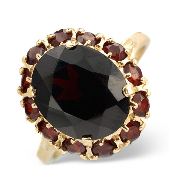 Garnet 12 x 10mm 9K Yellow Gold Ring - image 1