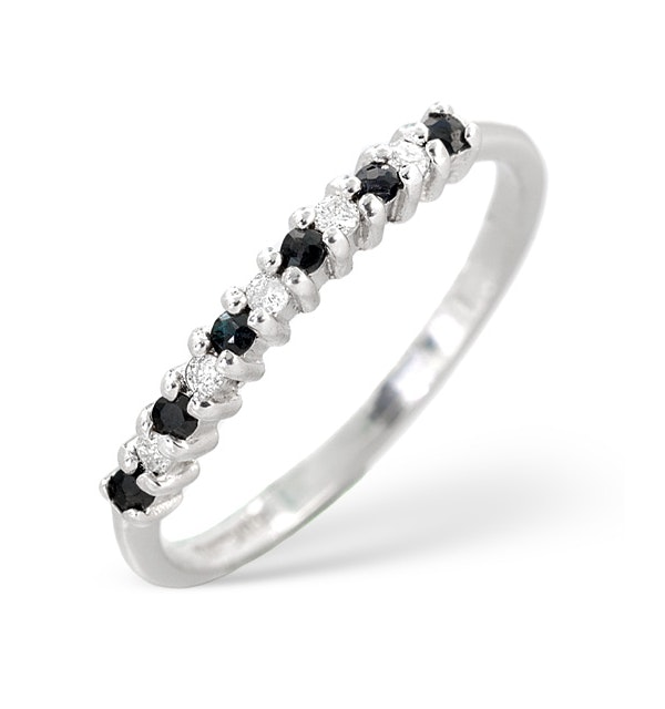 Sapphire 0.10ct And Diamond 9K White Gold Ring - image 1