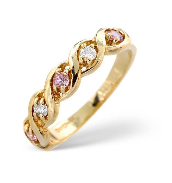 18K Gold Diamond and Pink Sapphire Ring 0.08ct - image 1