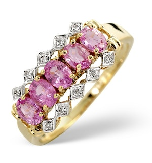 Pink Sapphire And 0.03CT Diamond Ring 9K Yellow Gold