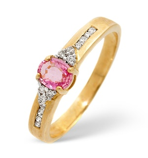 0.42CT Pink Sapphire And Diamond Ring 9K Yellow Gold