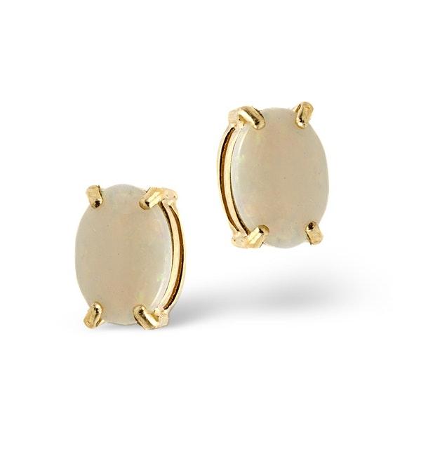 Opal 7 x 5mm 9K Yellow Gold Earrings - image 1