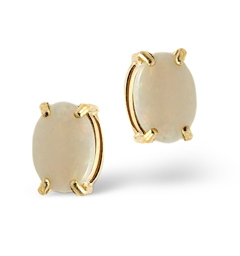 Opal 7 x 5mm 9K Yellow Gold Earrings - image 1
