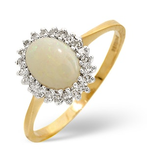 Opal 8 x 6mm And Diamond 9K Yellow Gold Ring