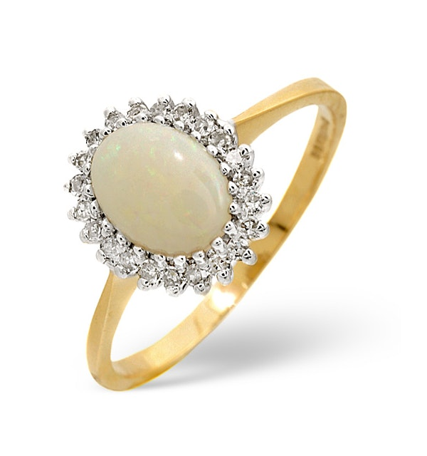 Opal 8 x 6mm And Diamond 9K Yellow Gold Ring - image 1