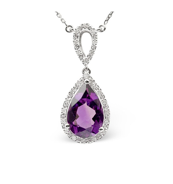Amethyst 2.78CT And Diamond 9K White Gold Necklace - image 1