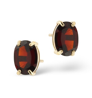 Garnet 7 x 5mm 18K Yellow Gold Earrings