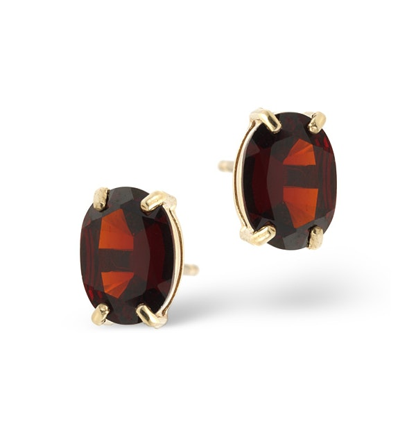 Garnet 7 x 5 mm 9K Yellow Gold Earrings - image 1