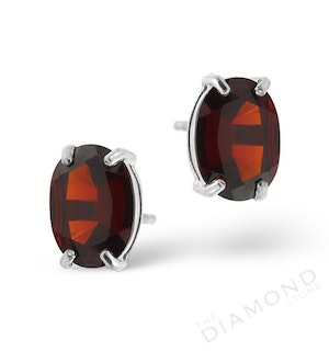 Garnet 7 x 5mm 18K White Gold Earrings