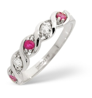Ruby 0.20ct And Diamond 18K White Gold Ring