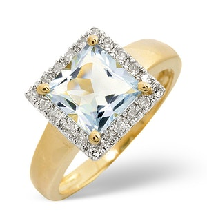 Aquamarine 1.42CT And Diamond 9K Yellow Gold Ring - E5403