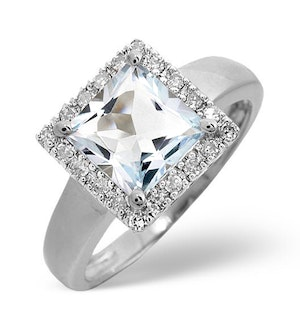 Aquamarine 1.42CT And Diamond 9K White Gold Ring
