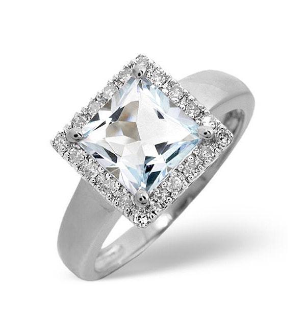 Aquamarine 1.42CT And Diamond 9K White Gold Ring - image 1