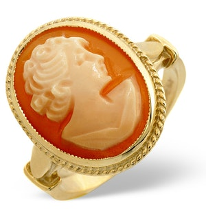 Cameo 16 x 12mm 9K Yellow Gold Ring