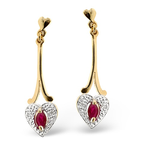 Ruby 5 x 3mm And Diamond 9K Yellow Gold Earrings - image 1