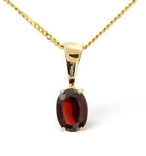7mm x 5mm Garnet 9K Gold Pendant Necklace - B3388