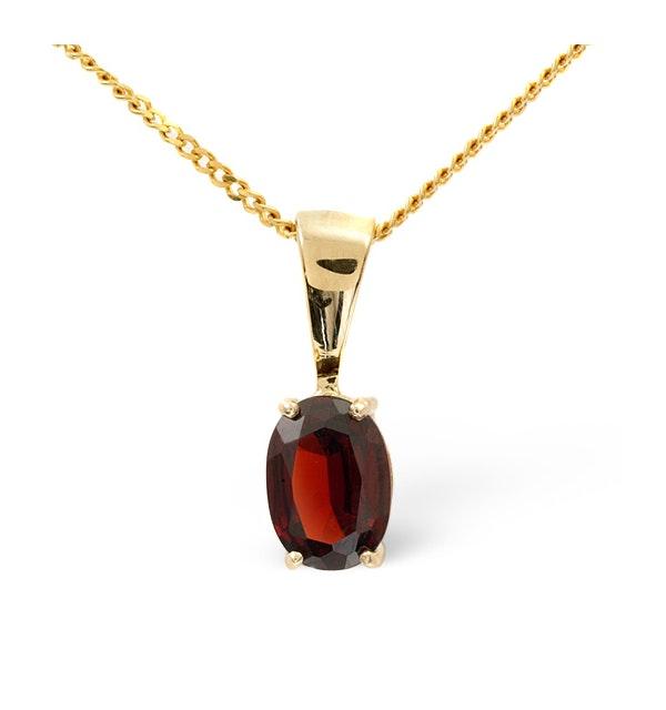 7mm x 5mm Garnet 9K Gold Pendant Necklace - B3388 - image 1