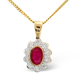 Ruby 6 x 4mm And Diamond 18K Yellow Gold Pendant Necklace FER26-T