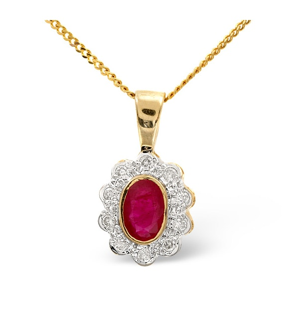 Ruby 6 x 4mm And Diamond 18K Yellow Gold Pendant Necklace FER26-T - image 1