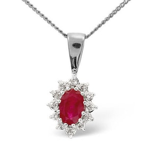 Ruby 6 x 4mm And Diamond 18K White Gold Pendant
