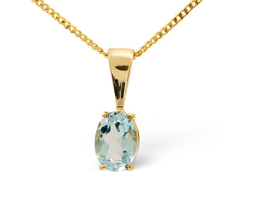 Blue Topaz Yellow Gold Pendants And Necklaces