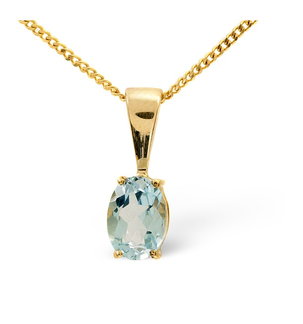 Blue Topaz 7 x 5mm 9K Yellow Gold Pendant Necklace - image 1