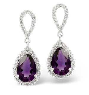 Amethyst 2.47CT And Diamond 9K White Gold Earrings