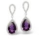 Amethyst 2.47CT And Diamond 9K White Gold Earrings - image 1