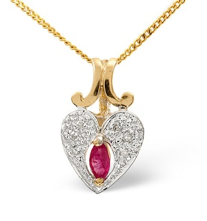 Ruby 5 X 2.5mm and Diamond 9K Yellow Gold Pendant