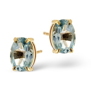 Blue Topaz 7 x 5mm 9K Yellow Gold Earrings
