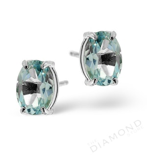 Blue Topaz 7x5mm 18K White Gold Earrings