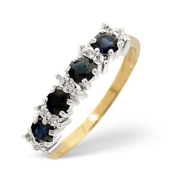 Sapphire 0.85ct And Diamond 9K Gold Ring - image 1