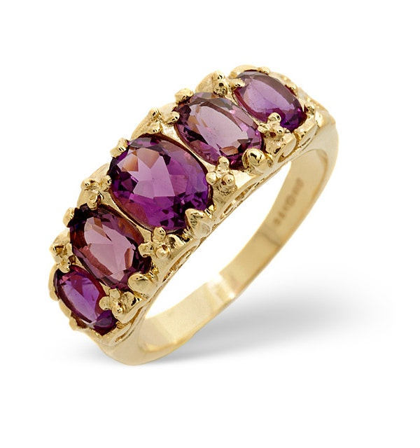 Amethyst 2.10ct 9K Yellow Gold Ring - image 1