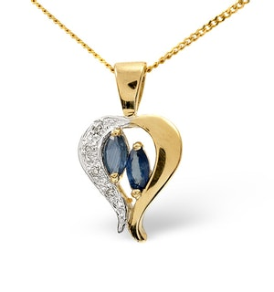 Sapphire 5 x 3mm And Diamond 9K Yellow Gold Pendant Necklace