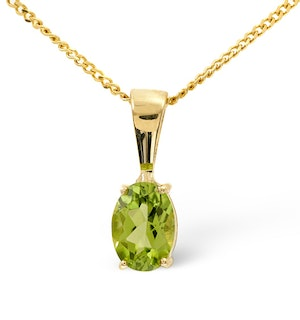 Peridot 7 x 5mm 9K Yellow Gold Pendant Necklace