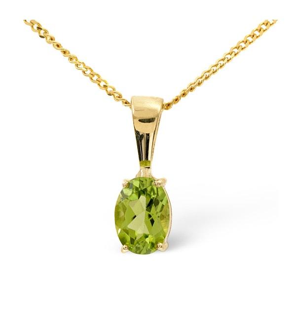 Peridot 7 x 5mm 9K Yellow Gold Pendant Necklace - image 1