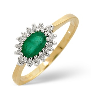 Emerald 6 x 4mm And Diamond 18K Gold Ring  FET21-G