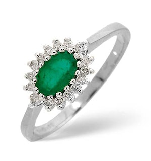 Emerald 6 x 4mm And Diamond 18K White Gold Ring  FET21-GY