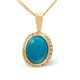Turquoise 9 x7mm 9K Yellow Gold Pendant - image 1