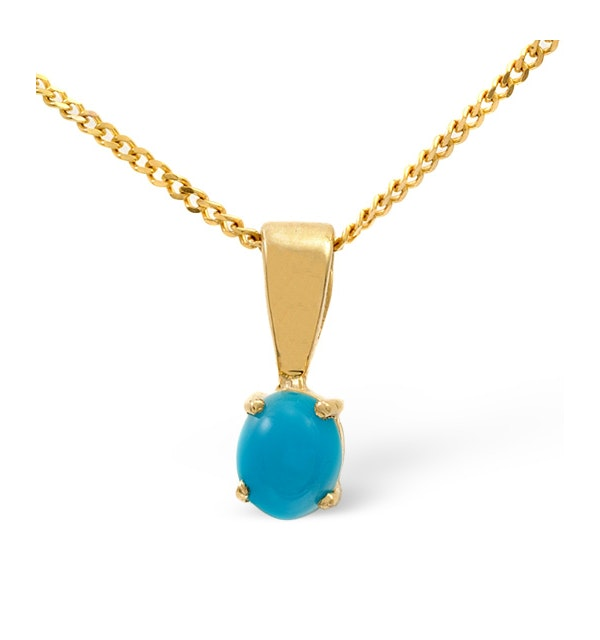 Turquoise 5 x 4mm 9K Yellow Gold Pendant Necklace - image 1