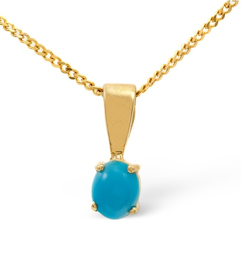 Turquoise 5 x 4mm 9K Yellow Gold Pendant - image 1
