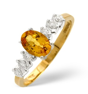 Golden Sapphire Ring with Diamond Shoulders in 9K Gold