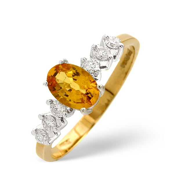 Golden Sapphire Ring with Diamond Shoulders in 9K Gold - image 1