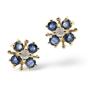 Sapphire 0.40CT And Diamond 9K Yellow Gold Earrings