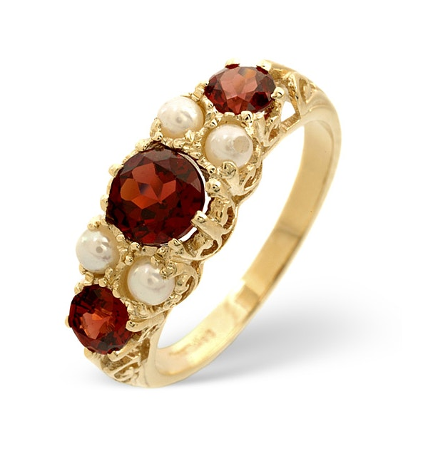 Garnet And Pearl 9K Yellow Gold Ring - image 1