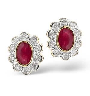 Ruby 6 x 4mm And Diamond 18K Yellow Gold Earrings  FEG28-T