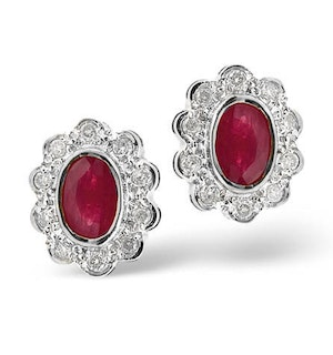 Ruby 6 x 4mm And Diamond 18K White Gold Earrings  FEG28-TY