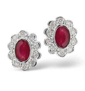 Ruby 6 x 4mm And Diamond 18K White Gold Earrings  FEG28-TY