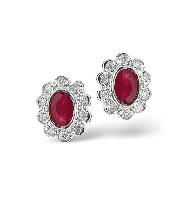 Ruby 6 x 4mm And Diamond 18K White Gold Earrings  FEG28-TY - image 1