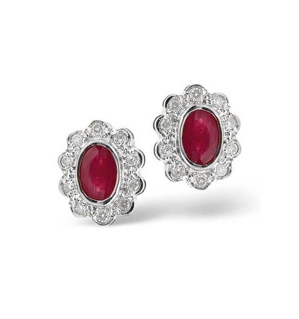 Ruby 6 x 4mm And Diamond 18K White Gold Earrings  FEG28-TY - image 1